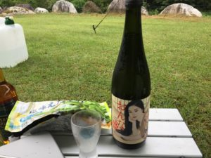 片貝山ノ守キャンプ場でソロキャンプで日本酒