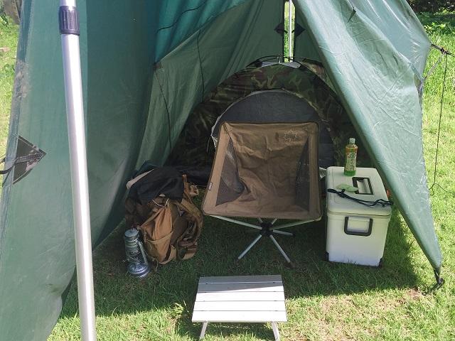 Aフレームにテント1