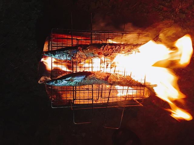 閑乗寺キャンプ場で秋刀魚
