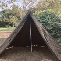 ポーランド軍のポンチョテントの試し張り!テント内の広さや使い心地は?