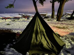 初の雪中ソロキャンプ