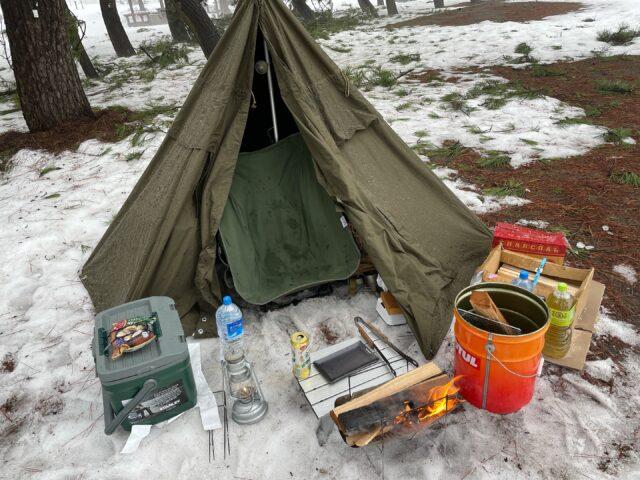 初の雪中ソロキャンプ!