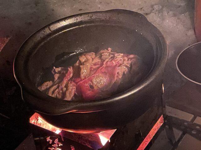 土鍋ですき焼き (13)