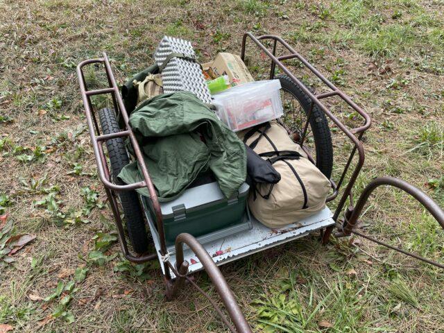 グリーンパークおおしまキャンプ場でリアカーに乗せたキャンプギア